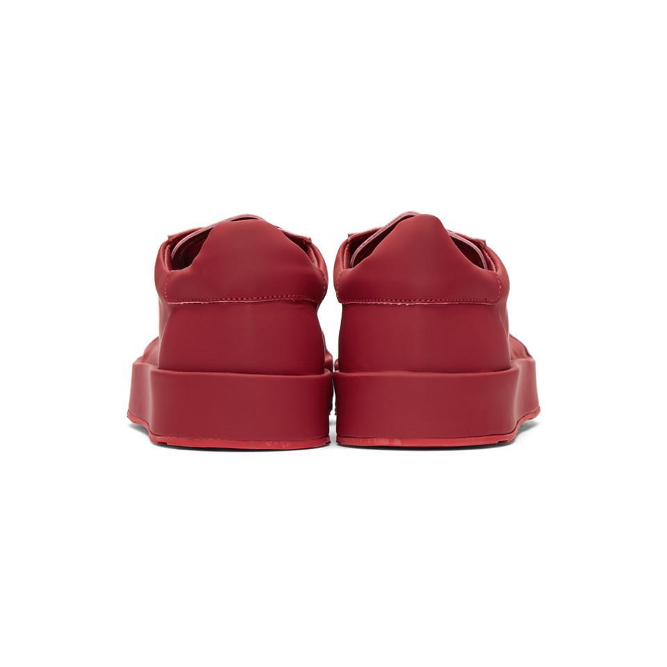Jil Sander Red Leather Sneakers