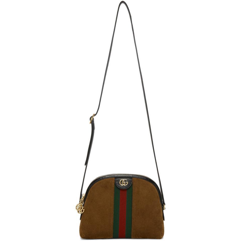 2b18a25f92 Sac en suede brun Small Ophidia Gucci en coloris Marron - Lyst