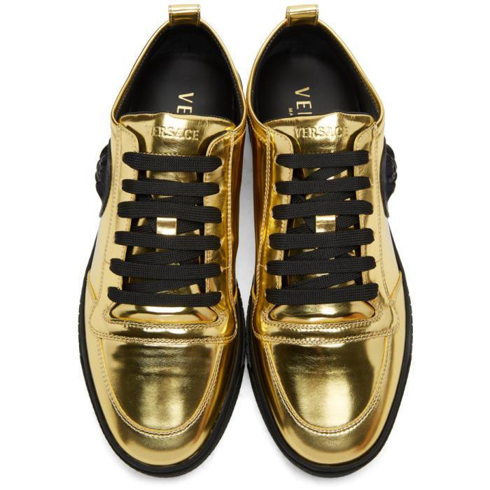 medusa gold trim sneakers