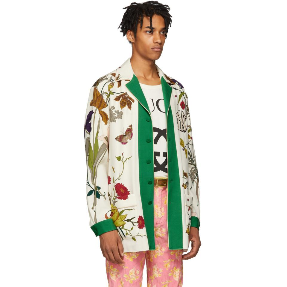 7c2907d5c Gucci - Green White New York Yankees Edition Floral Gothic Print Shirt for  Men - Lyst. View fullscreen