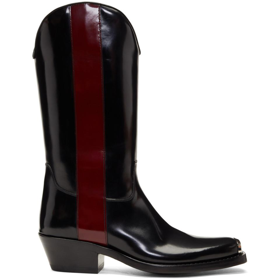 Black And Red Ed Western Boots Calvin Klein Cowboy Boots Womens Shoes