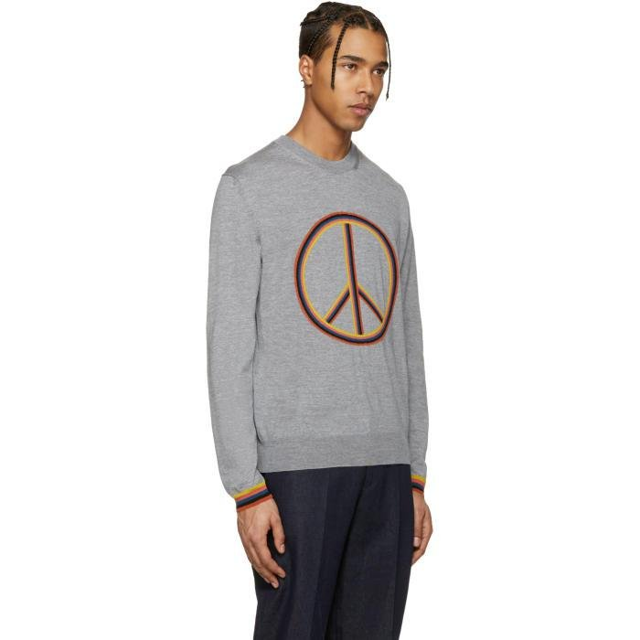 Paul Smith Wool Grey Peace Sign Pullover in Grey for Men