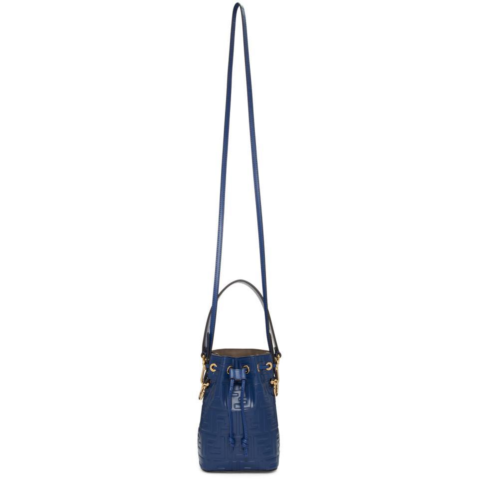 1d100b86b352 Fendi Navy Mini Forever Mon Tresor Bucket Bag in Blue - Lyst