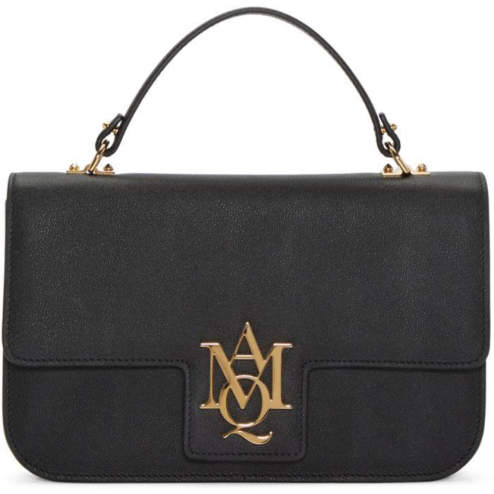 Alexander McQueen Leather Black Large Insignia Cross Body Satchel