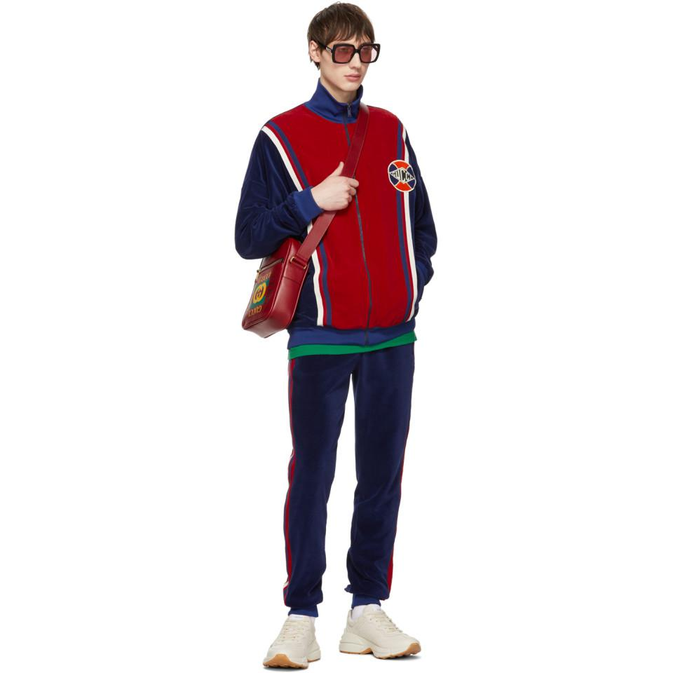 dc4af0734 Gucci Blue And Red Velour Oversized Track Jacket in Red for Men - Lyst