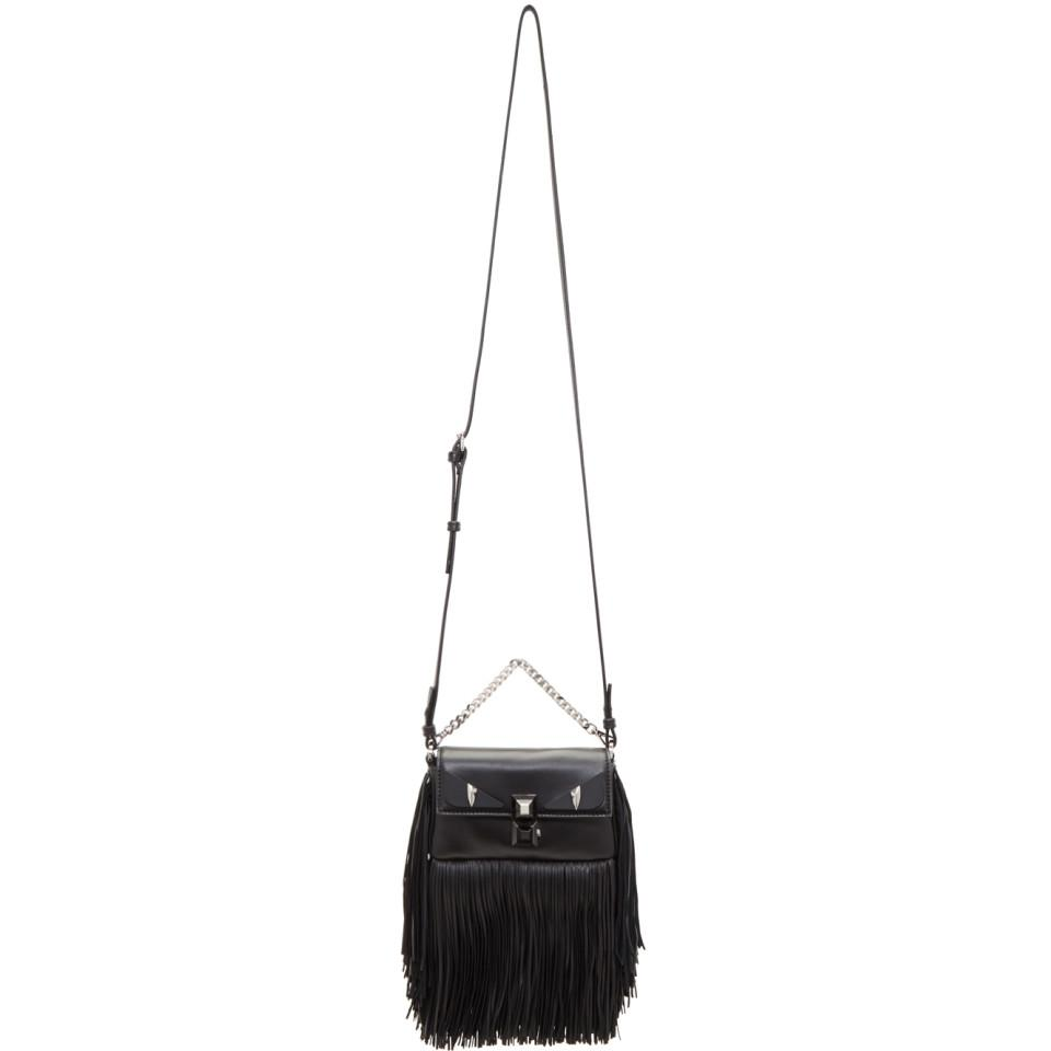 Black Fringed Bag Bugs Micro Baguette Bag Fendi BnnjM51M