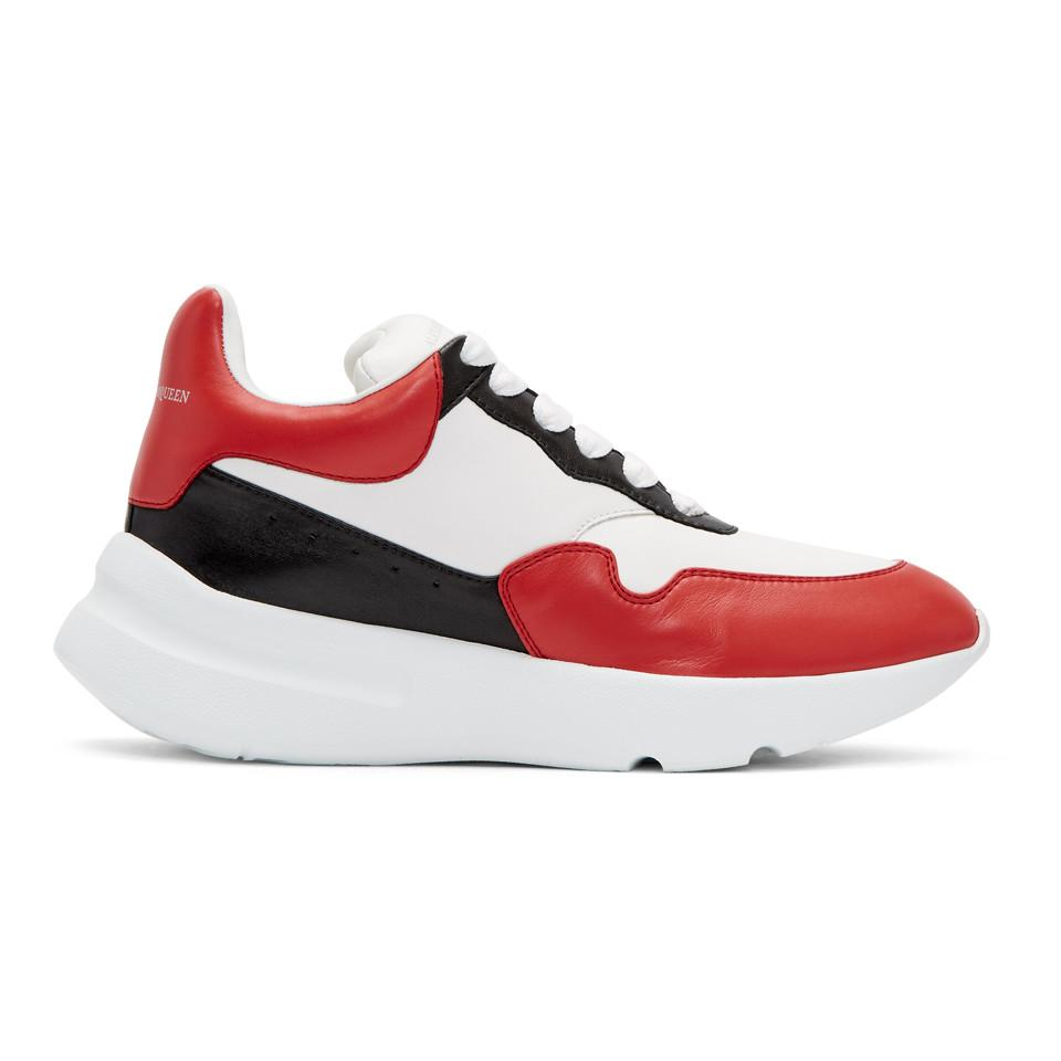 Alexander McQueen White & Red Runner Sneakers 7QGUyhxV