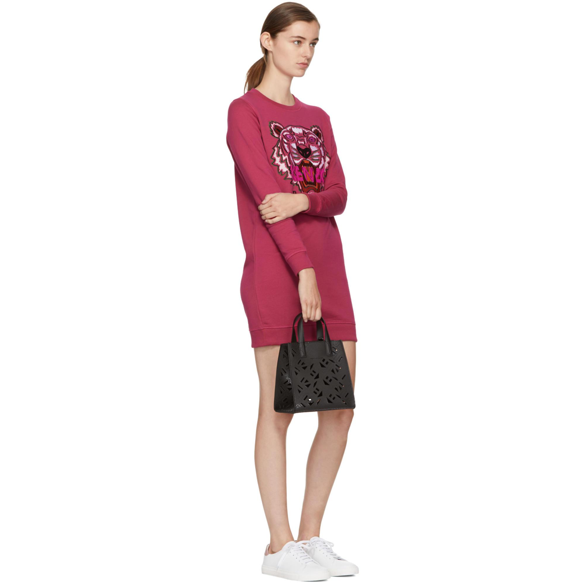 00f17d7e0bc Lyst - Robe pull rose Tiger KENZO en coloris Rose