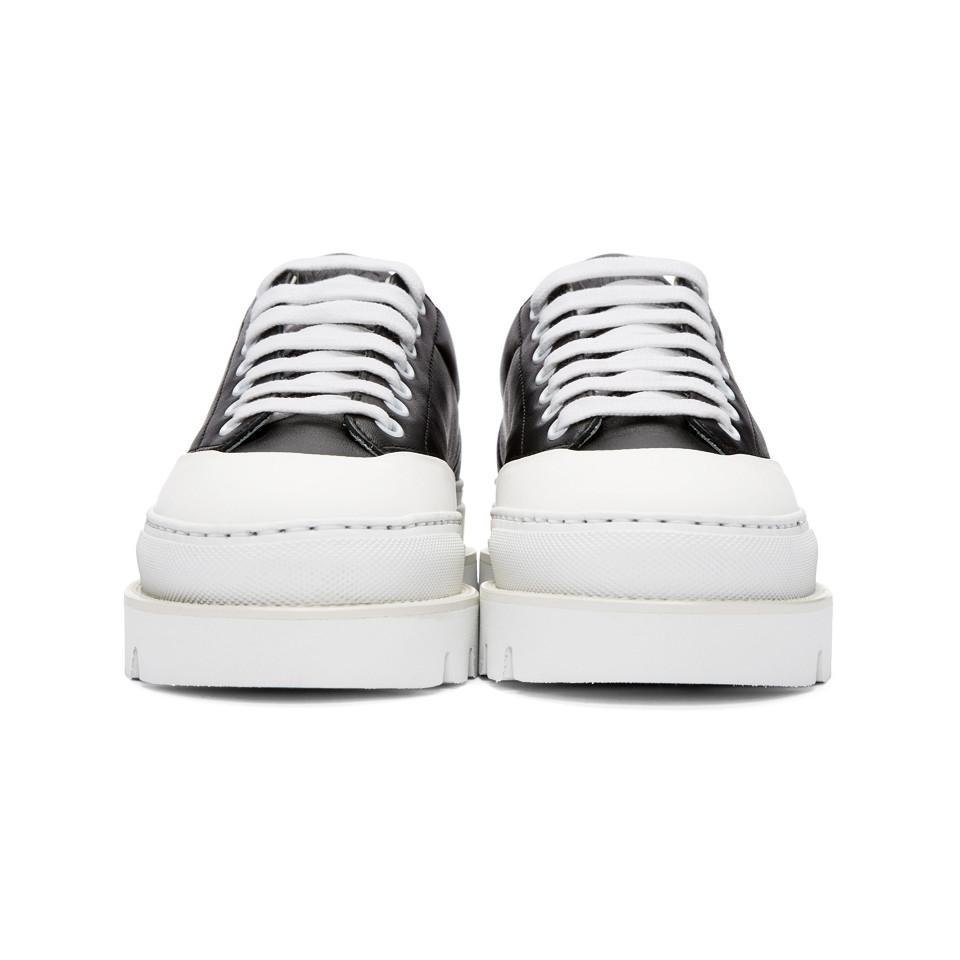 MM6 by Maison Martin Margiela Rubber Black Leather Platform Sneakers