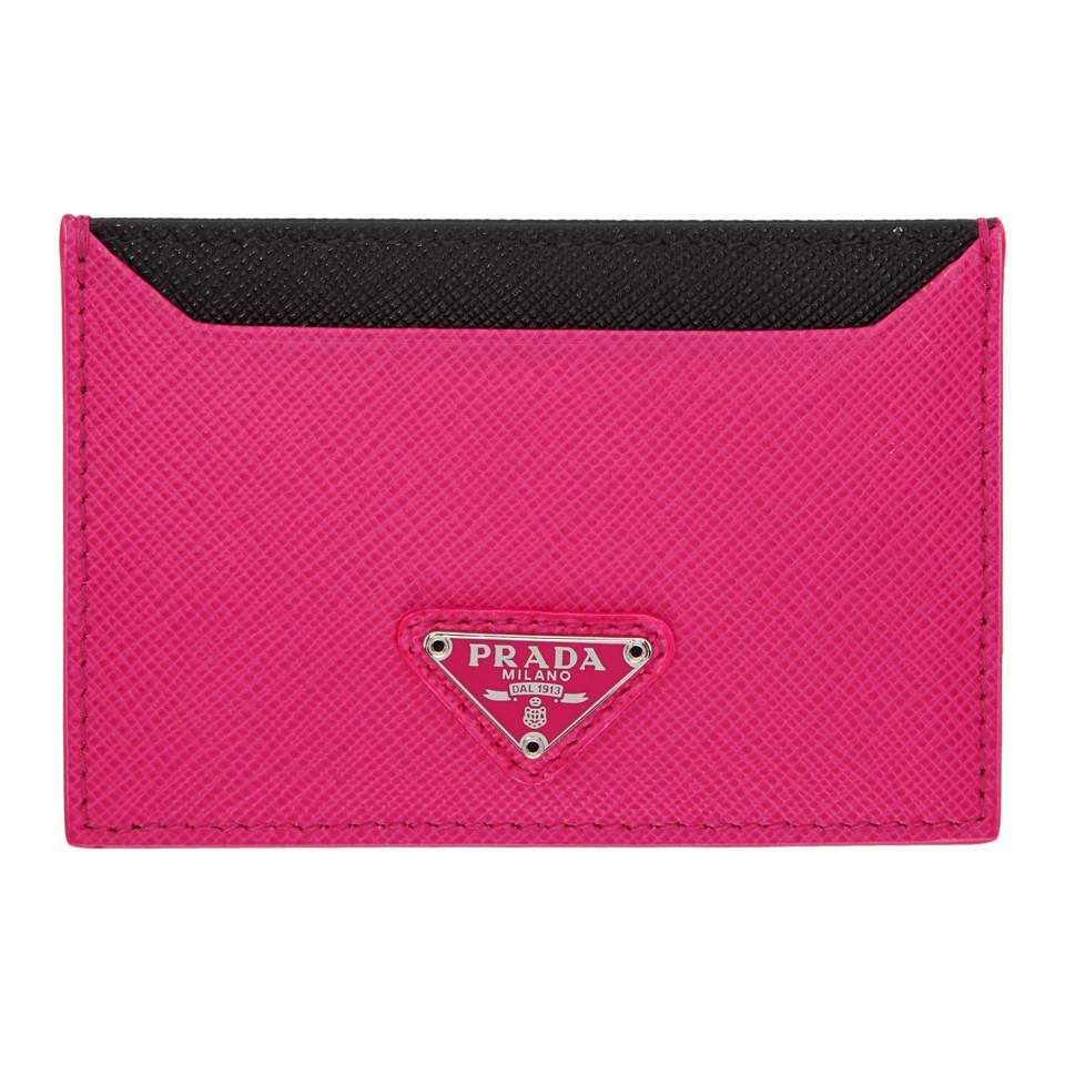 7d516e5414bad0 discount prada leather card holder 9ecac 5d899; uk prada pink triangle logo  card holder lyst. view fullscreen 382ef 3b633