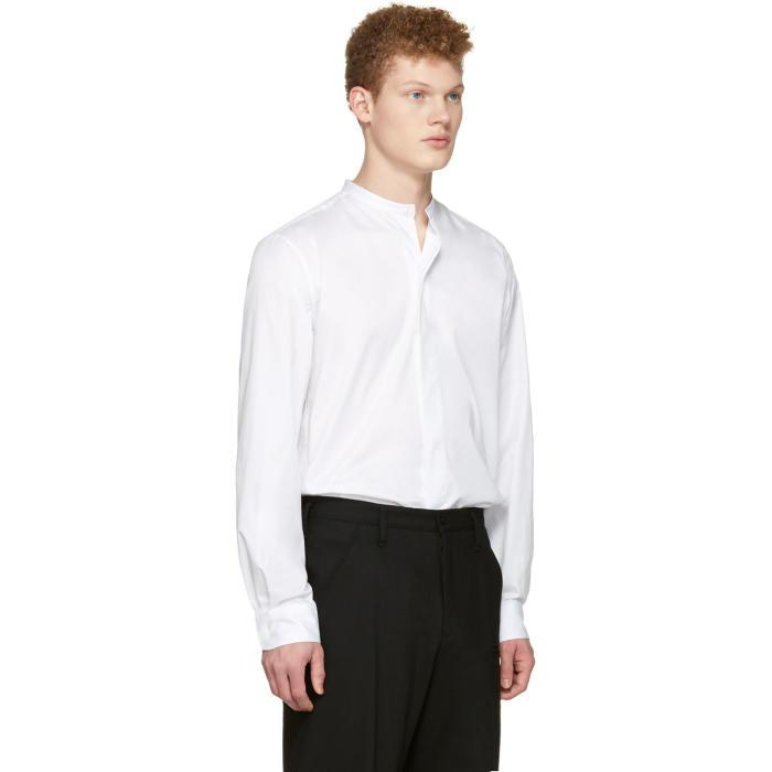 Lemaire Cotton White Officer Collar Shirt for Men