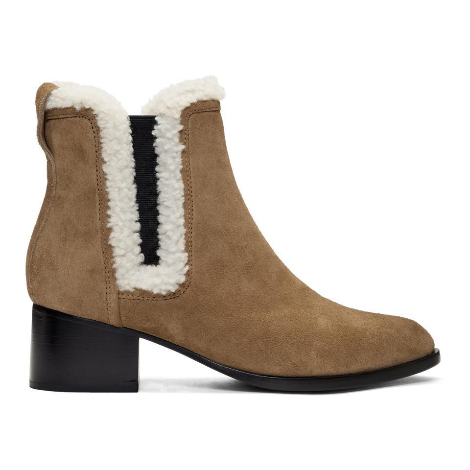 Rag & Bone Tan Suede & Shearling Walker Boots 65f0yN