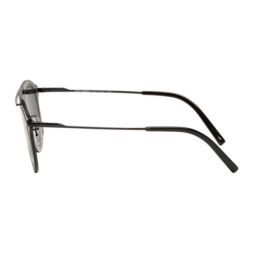 Dolce & Gabbana Black Single Lens Sunglasses in Grey (Grey) for Men