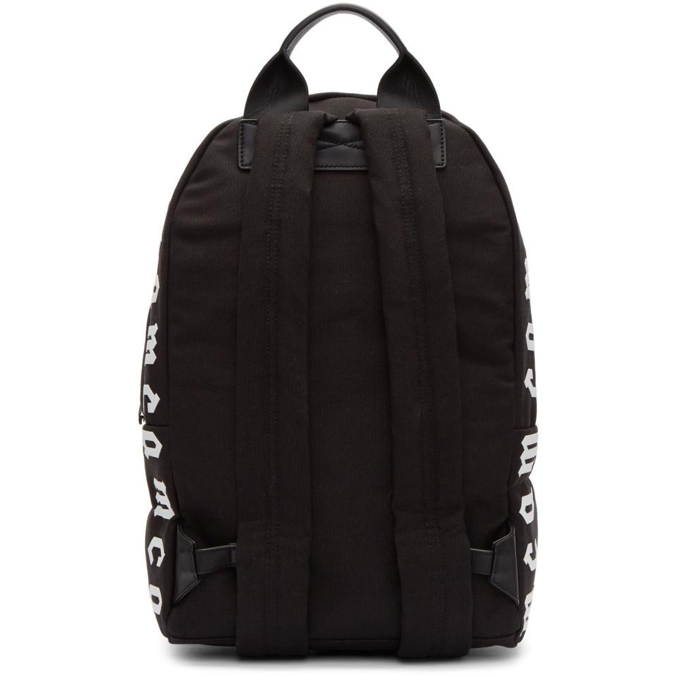 McQ Canvas Black And White Logo Backpack for Men