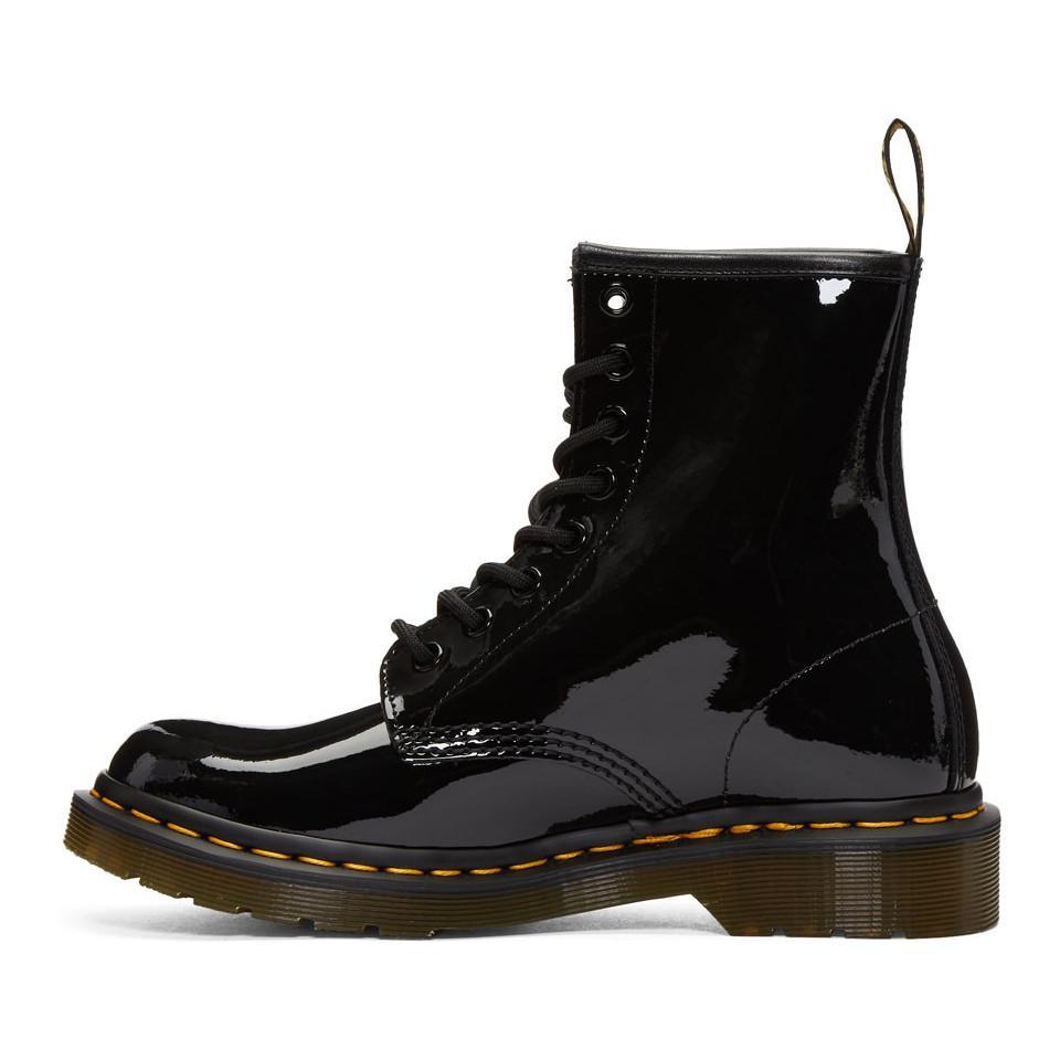 Dr. Martens Leather Black Patent 1460 Boots