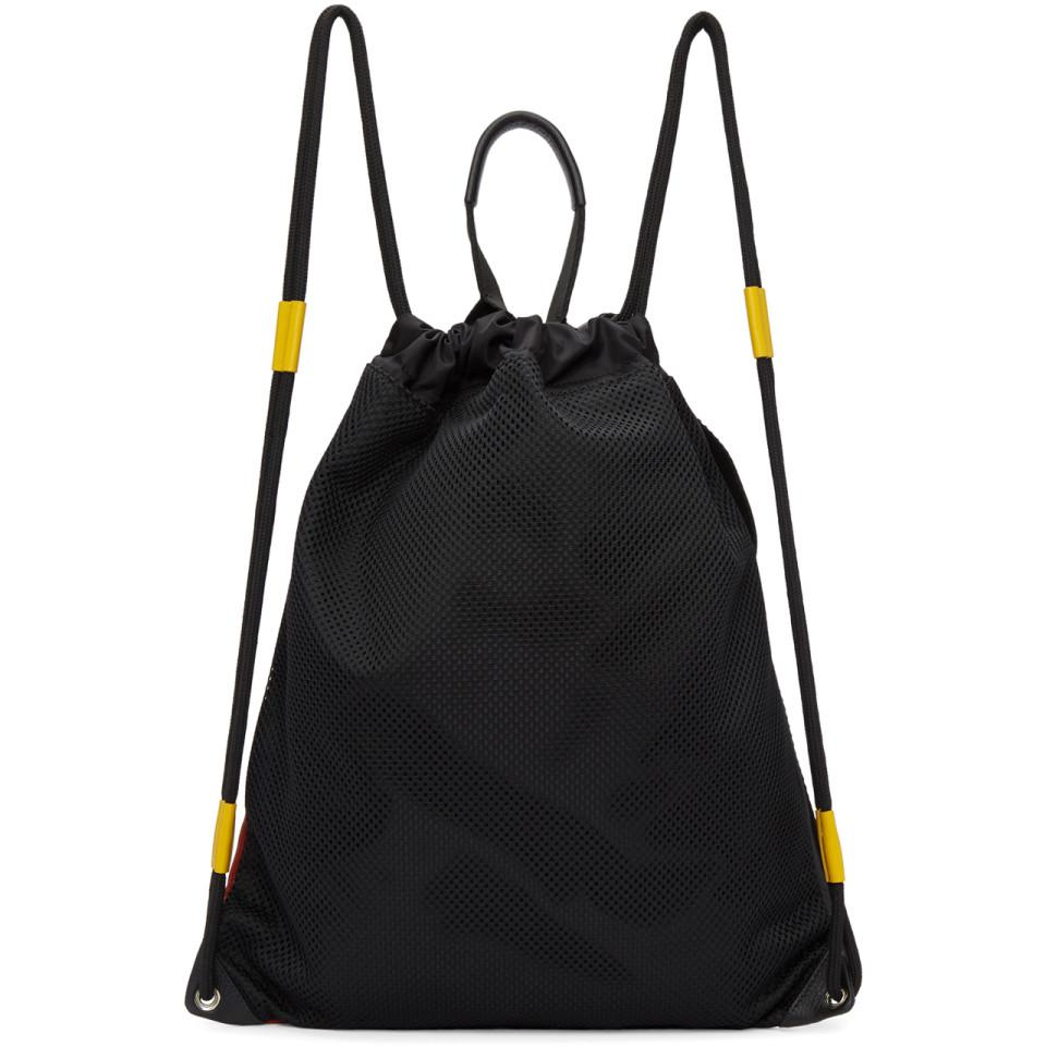 Givenchy Leather Black And Red Mc3 Drawstring Backpack for Men