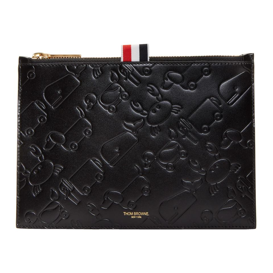 Black Large Embossed Toy Icon Coin Pouch Thom Browne g6eaj