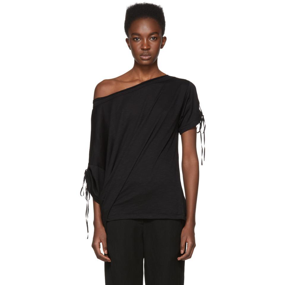 SSENSE Exclusive Black Off-the-Shoulder T-Shirt Ann Demeulemeester Cheap Wiki mPrQYo79G