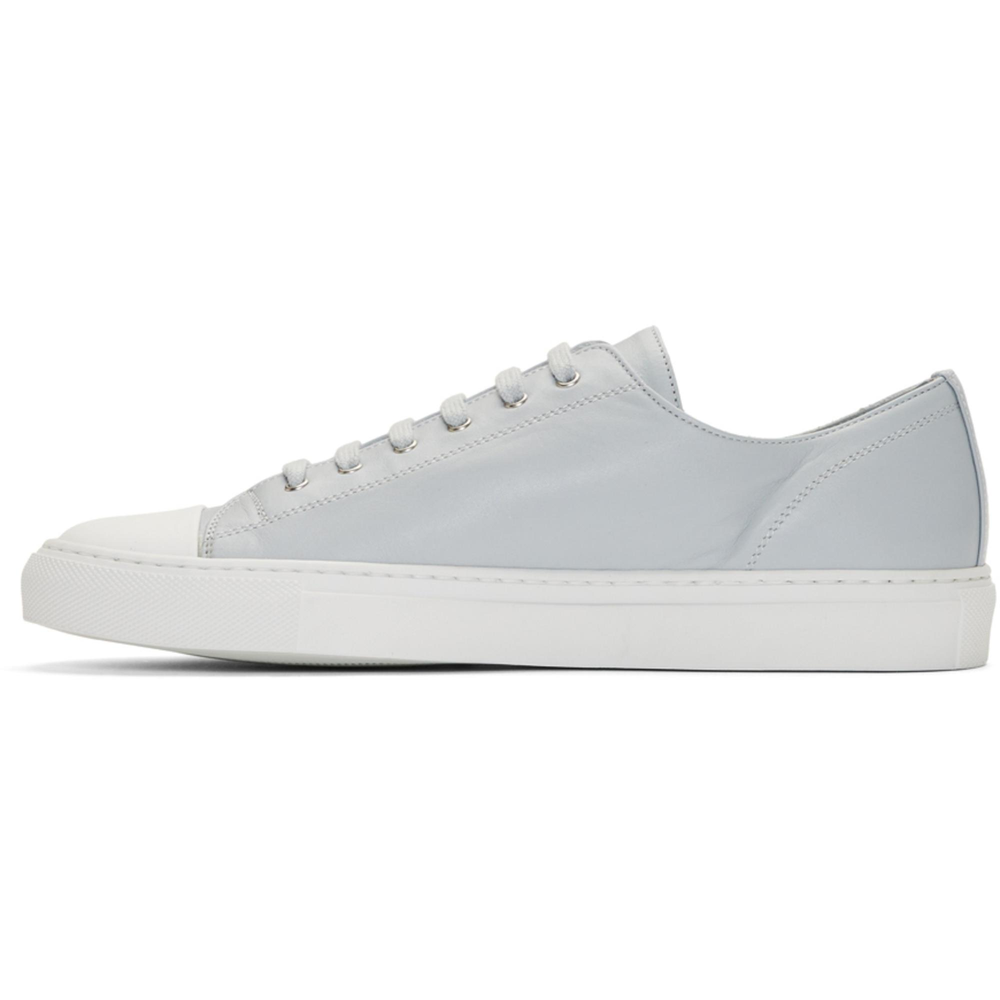 Common Projects Leather Grey Tournament Low Cap Toe Sneakers in Grey
