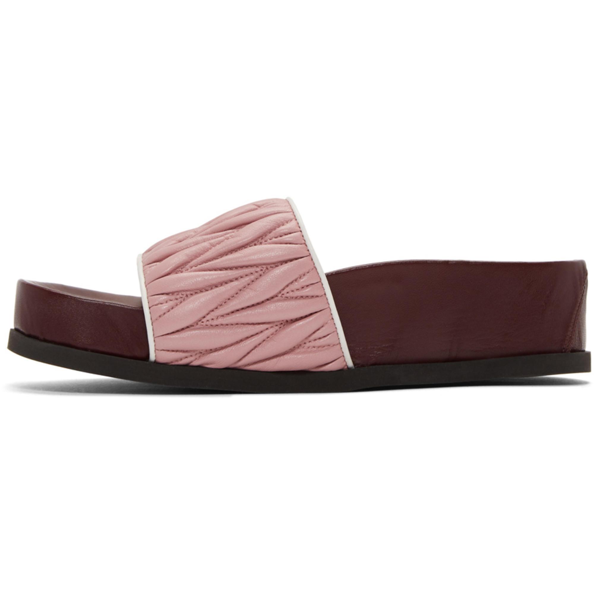 Miu Miu & Burbundy Quilted Platform Sandals ih7WtzEk