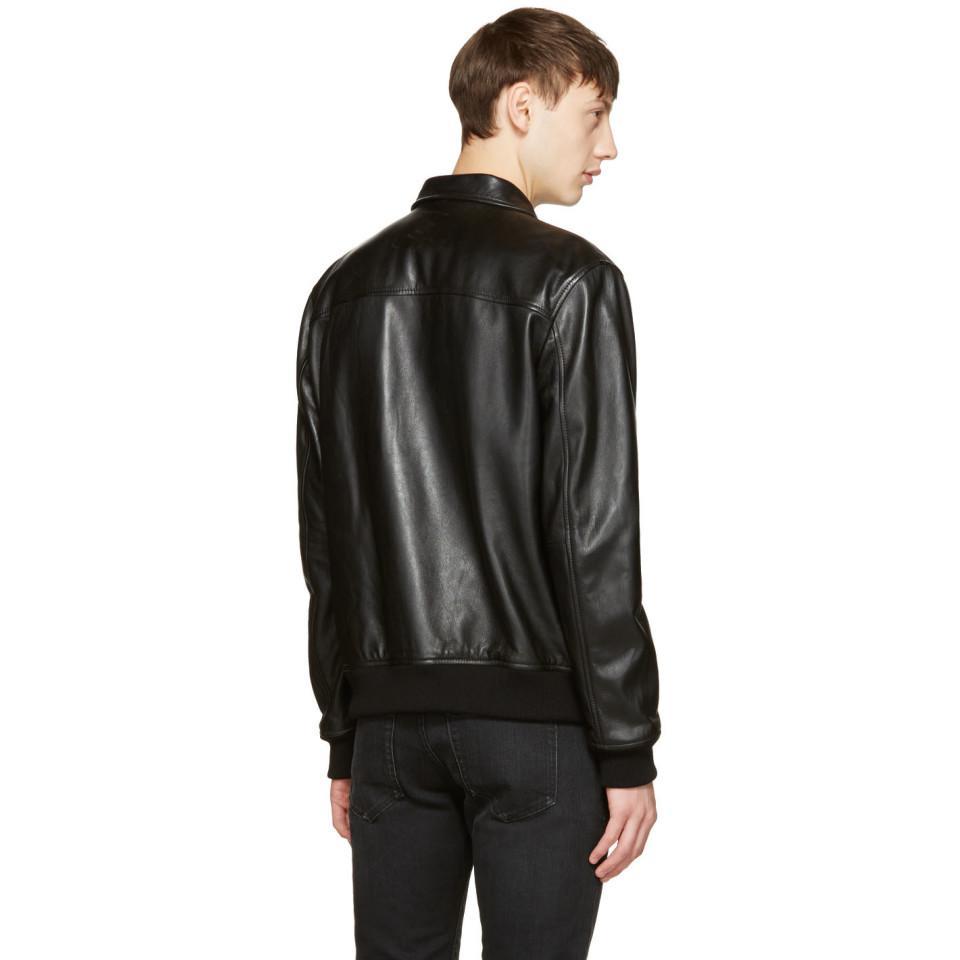 DSquared² Black Leather Jacket for Men