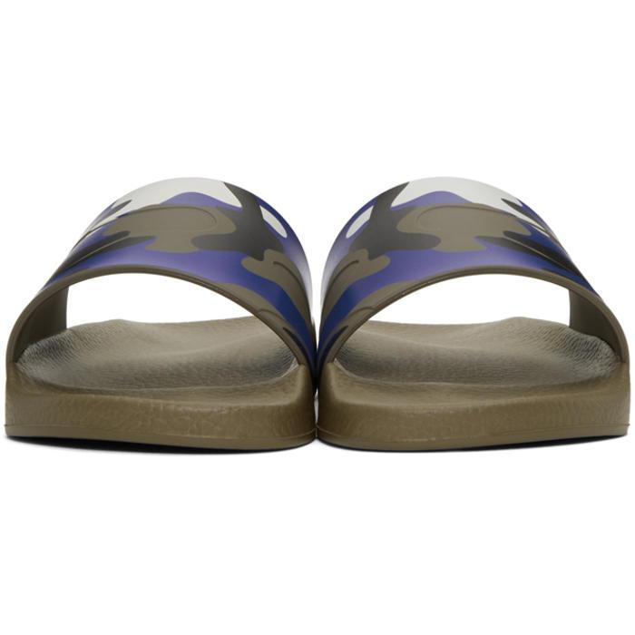 Valentino Rubber Blue Camo Slides For Men Lyst