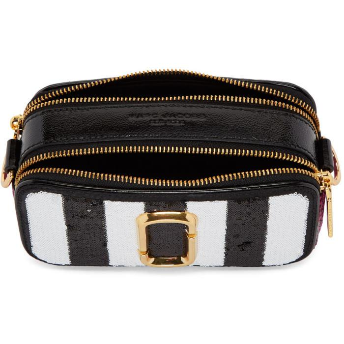 6a734ef5d110 Lyst - Marc Jacobs Black Sequin Striped Small Snapshot Camera Bag in ...