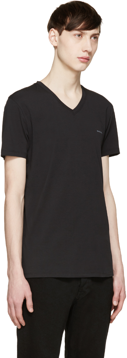 Diesel black v neck umtee michael t shirt in black for men for Mens diesel v neck t shirts