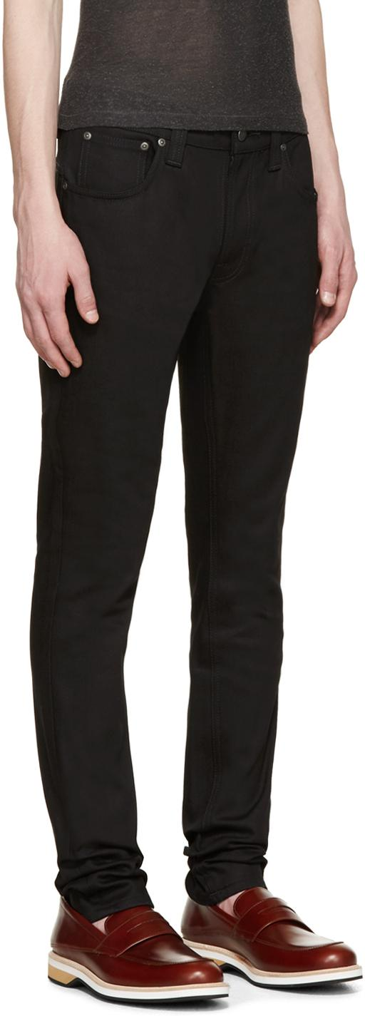 Nudie Jeans Denim Thin Finn Slim-fit Tapered Jeans in Black Black (Black) for Men