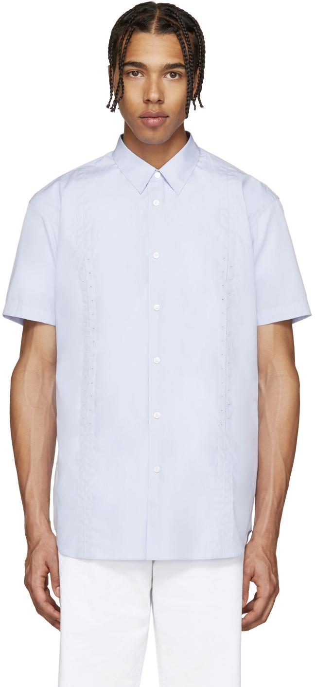 Comme des gar ons purple poplin eyelet shirt in blue for for Mens eyelet collar dress shirts