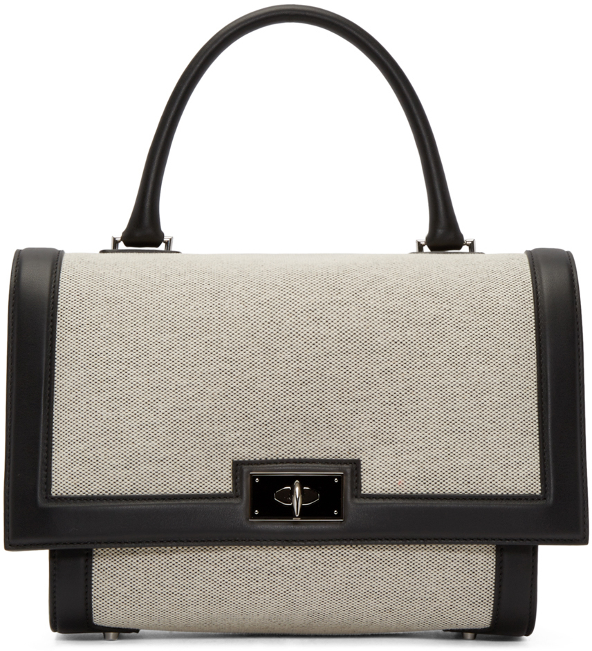 ... new arrival 76ce3 3d403 Lyst - Givenchy Beige Black Small Shark Bag in  Natural ... aa0c7beec5