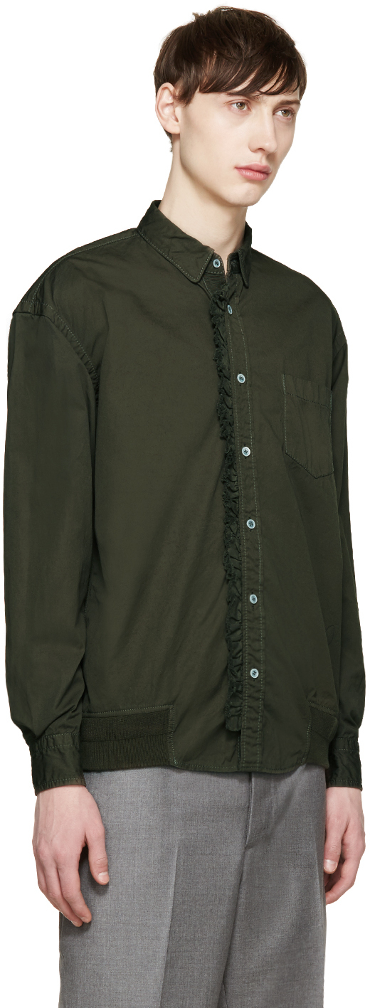 Sacai green ruffled shirt in green for men lyst for Frilly shirts for men