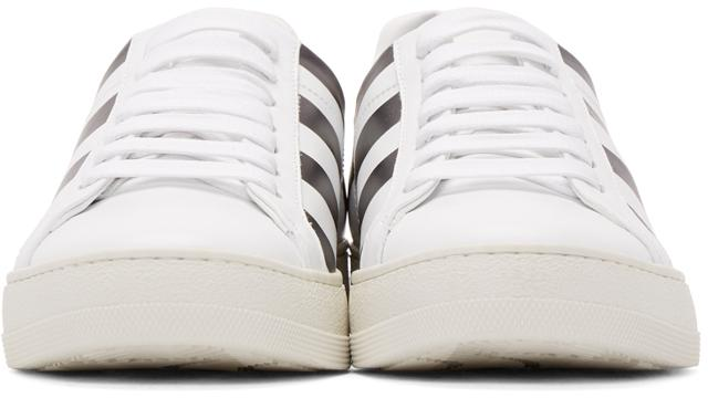 Off-White c/o Virgil Abloh Leather White & Black Diagonals Sneakers
