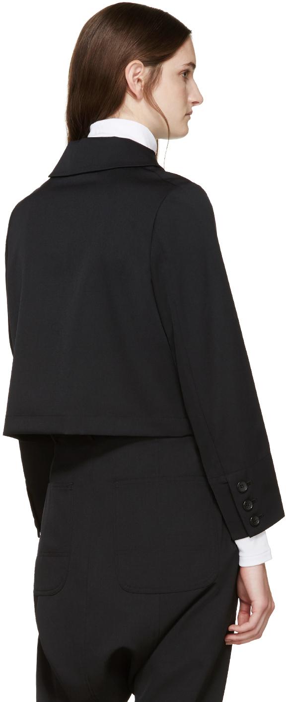 Comme Des Garu00e7ons Black Wool Half-zip Jacket In Black | Lyst