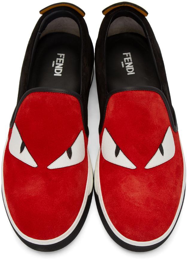 4aa3724c Fendi Red & Black Monster Slip-on Sneakers for men