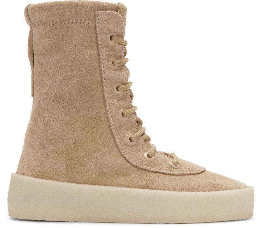 Yeezy Leather Season 2 Crepe Sole Boots in Beige (Brown)