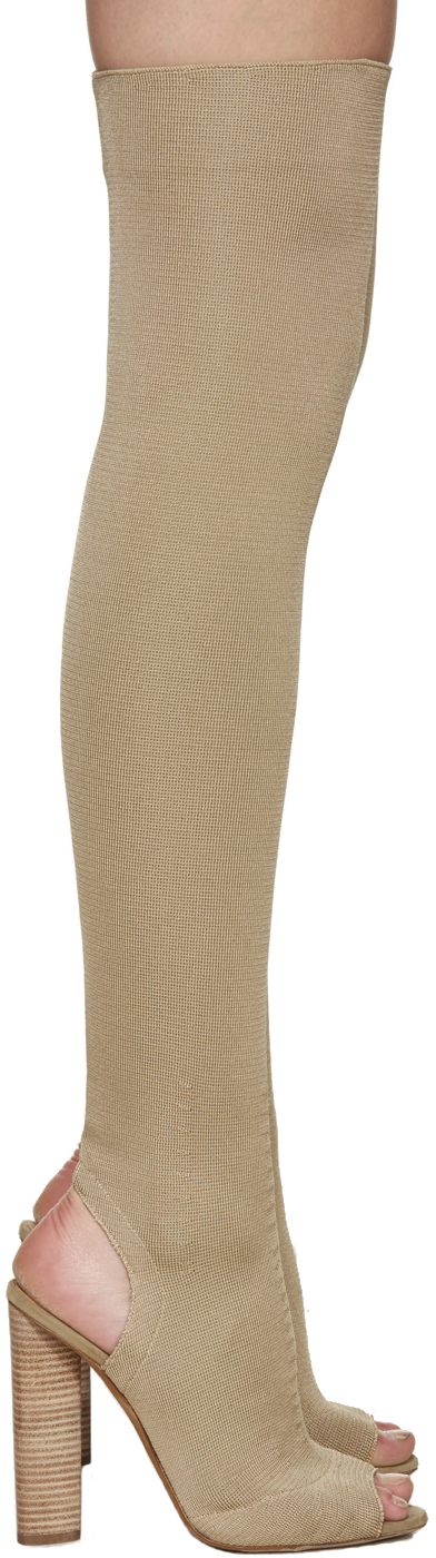 Yeezy Leather Knitted Knee-High Boots in Beige (Natural)