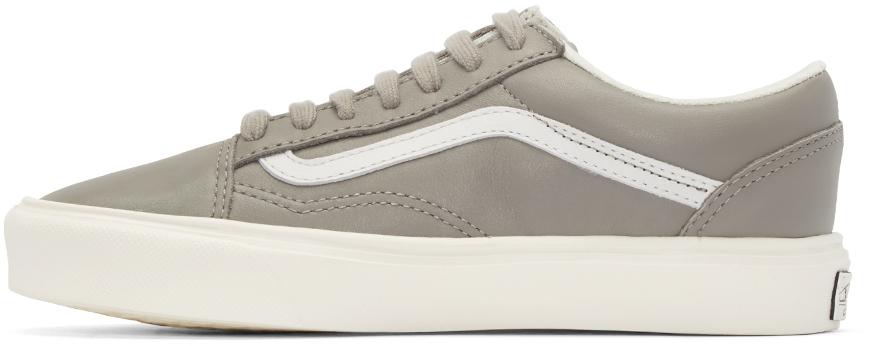 Vans Leather Taupe Old Skool Lite Lx Sneakers in Grey