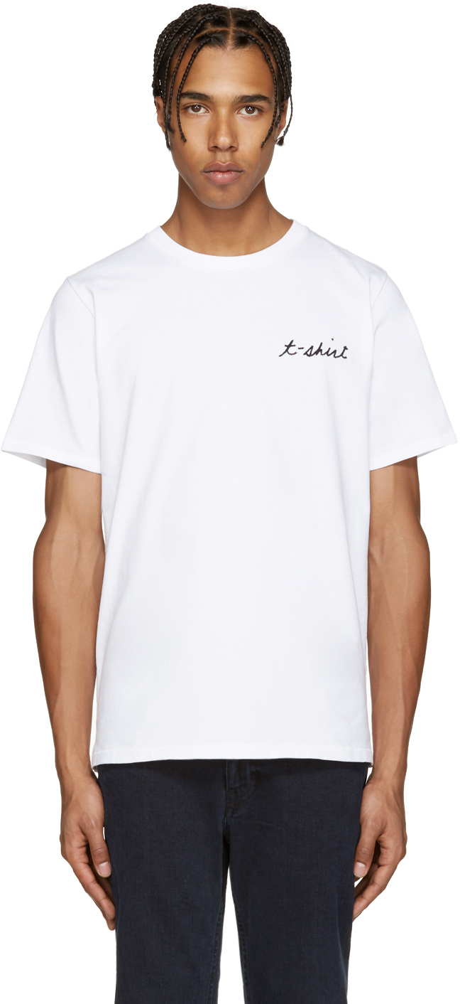 Rag bone white embroidery t shirt in white for men lyst for Rag and bone t shirts