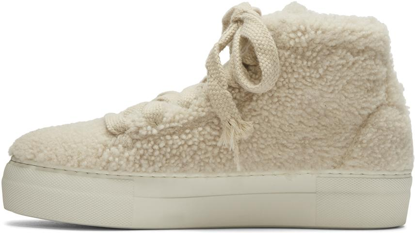 Helmut Lang Leather Off-white Shearling Stitched High-top Sneakers
