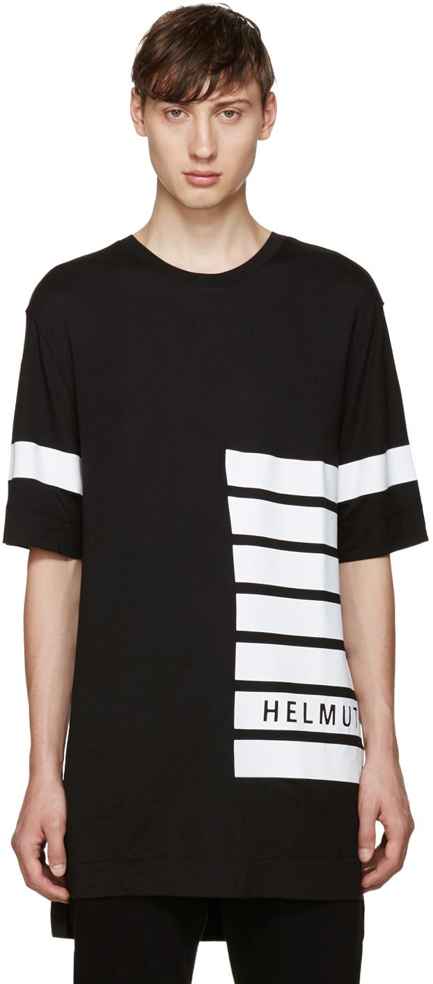 lyst helmut lang striped detail t shirt in black for men