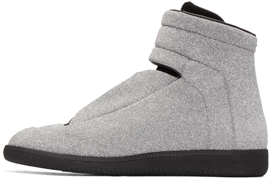 Maison margiela Silver Glitter Future High-top Sneakers in ...