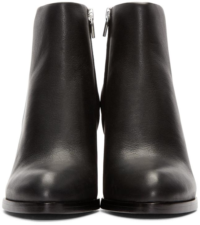 Alexander Wang Gabi Leather Silver-Cutout Ankle Boots in Black