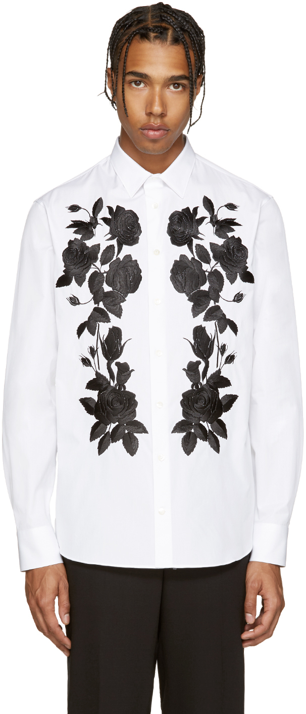 Alexander mcqueen white embroidered floral shirt in