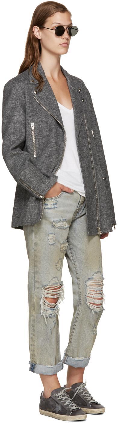 Golden Goose Deluxe Brand Grey Satin Superstar Sneakers in Grey