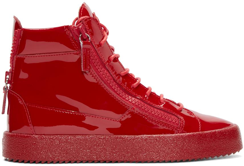 d6e2fd2717c Lyst - Giuseppe Zanotti Red Patent Leather High-top London Sneakers ...
