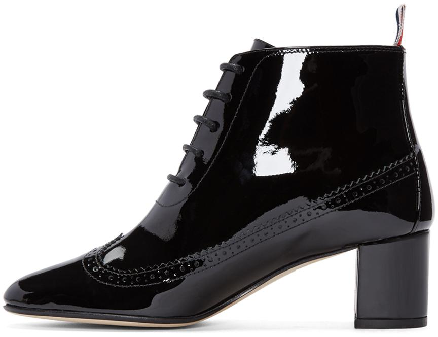Thom Browne Black Patent Leather Longwing Boots