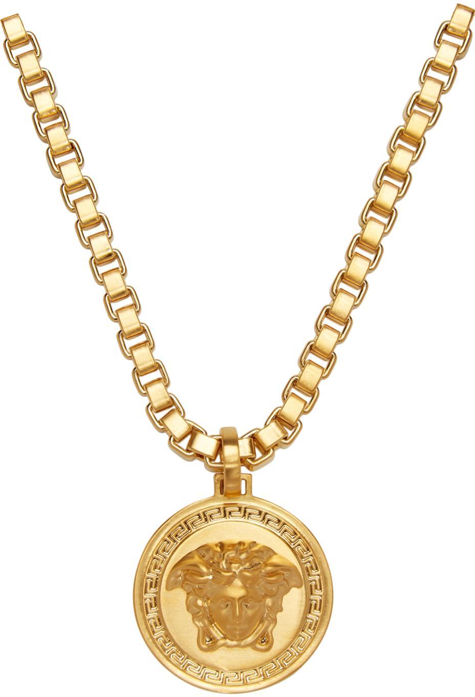 Versace Gold Medusa Necklace In Metallic For Men Lyst