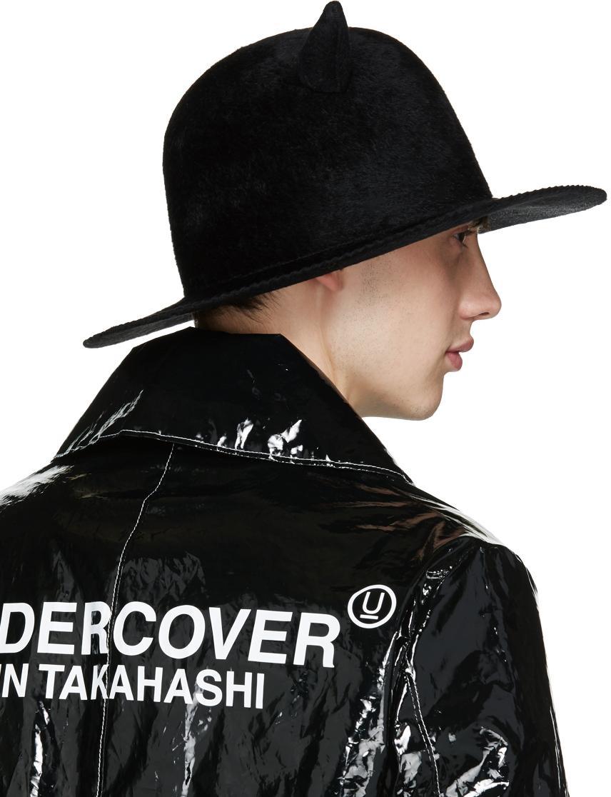 3fb293383fa Undercover Black Horned Rabbit Fur Hat in Natural for Men - Lyst