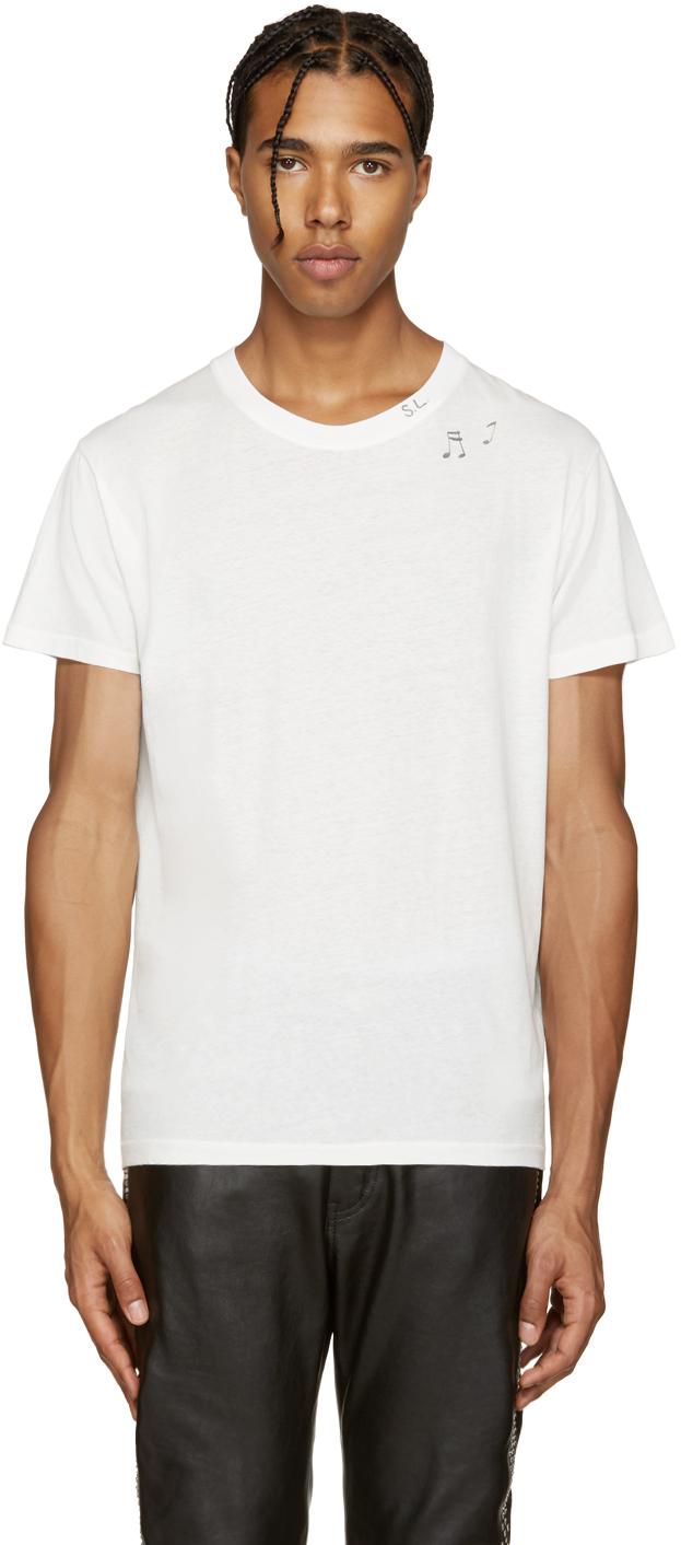 saint laurent white music note t shirt in white for men lyst. Black Bedroom Furniture Sets. Home Design Ideas